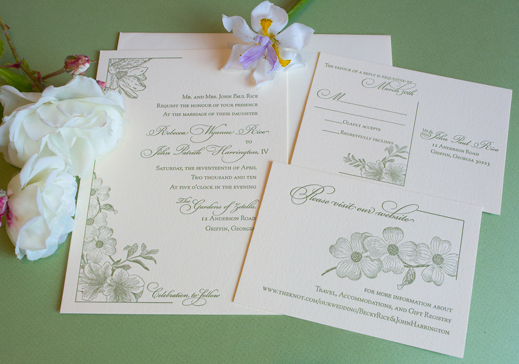 Garden Wedding Invitations: Painted Tongue Studios