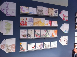 Painted Tongue botanical cards on display